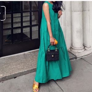 Who What Wear Green Tiered Maxi Dress